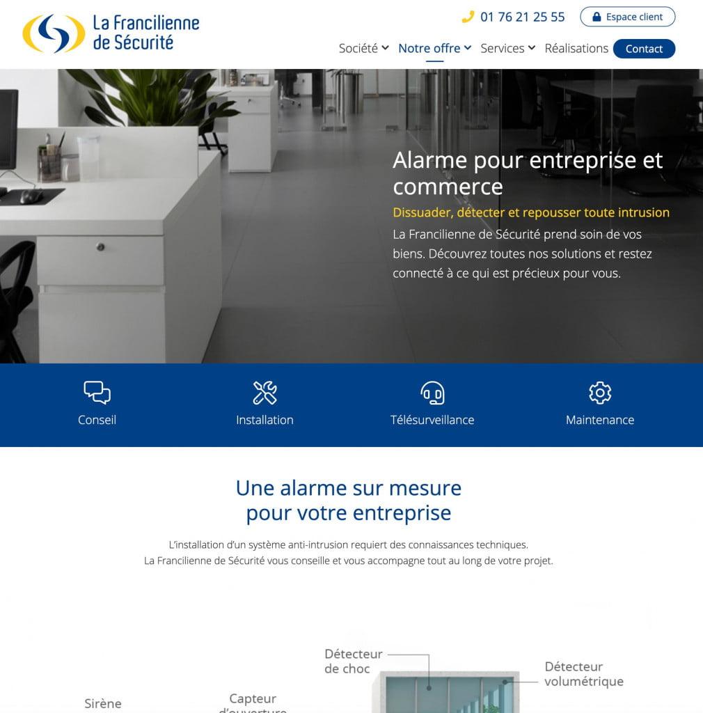 site internet entreprise - alarme