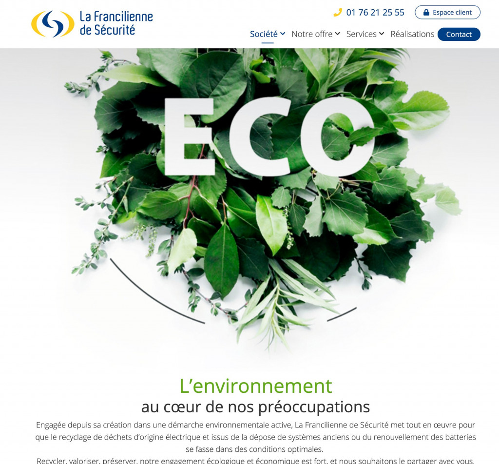 site internet entreprise - ecologie